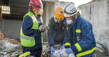 Imagen de archivo de un simulacro de los bomberos de Huelva.