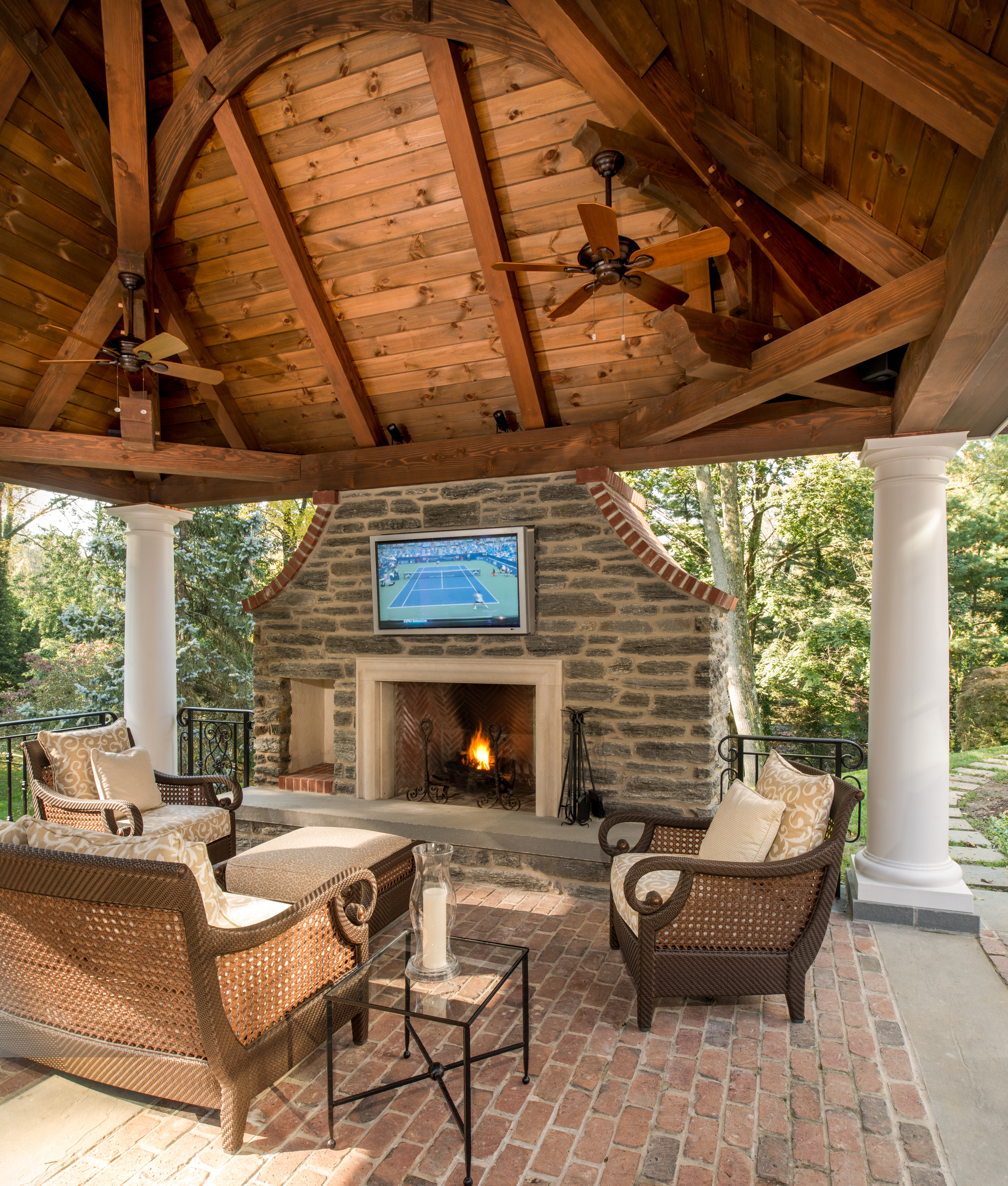 Timber frame pool house archives hugh lofting timber for Outdoor patio fireplace ideas