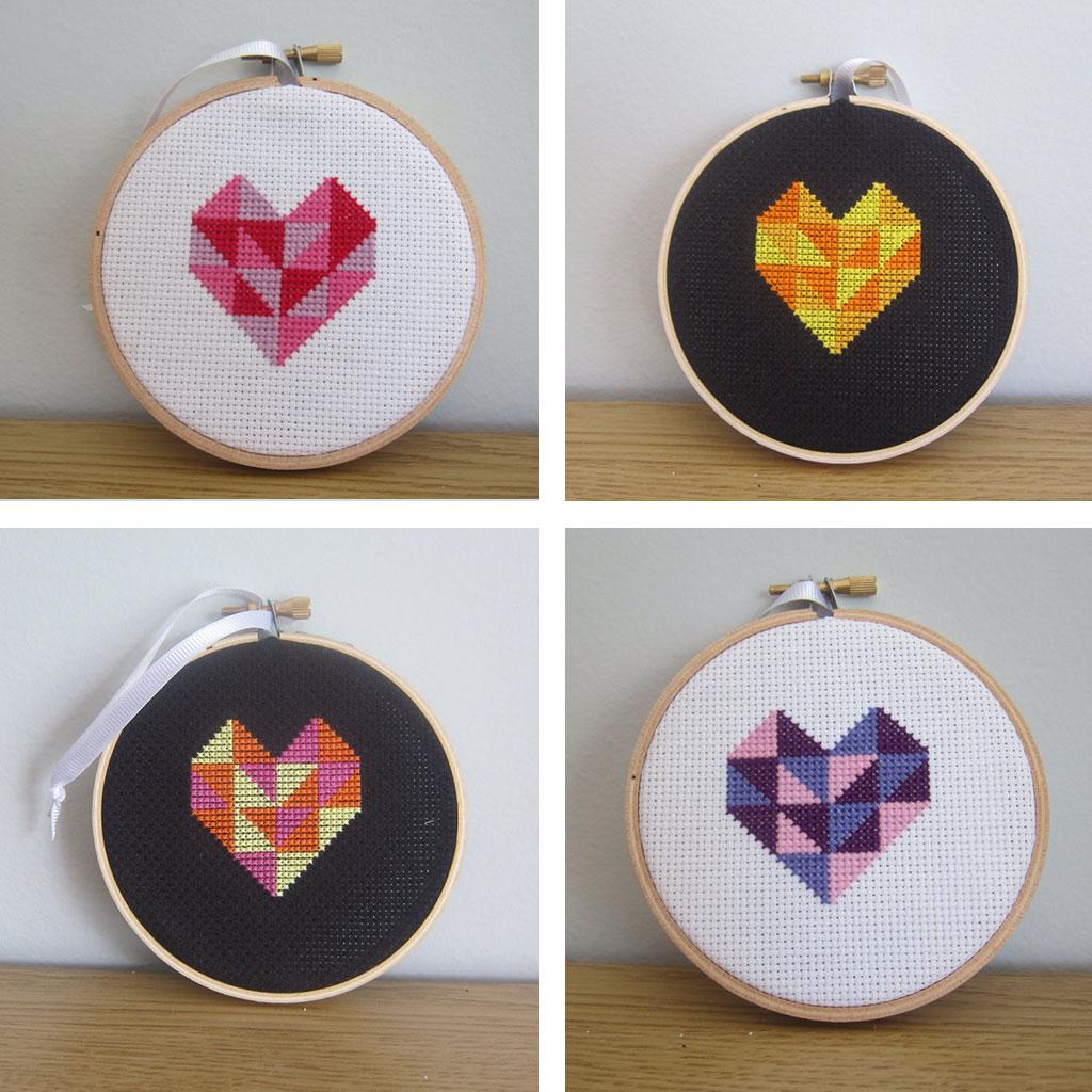 Geometric Heart Cross Stitches by Hugs are Fun