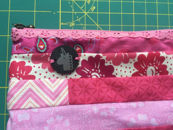 Unicorn Tag on Pink Patchwork Pouch from Hugs are Fun