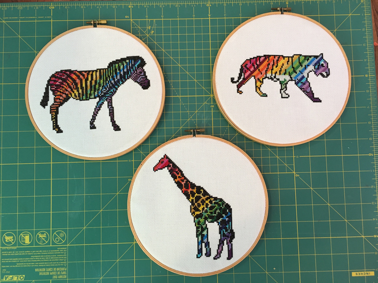 Rainbow Wild Animal Cross Stitch Patterns - One Thimble Issue 11 from Hugs are Fun
