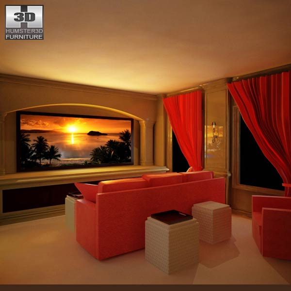 Sofa 3d Modeling Home Theater Set 04 3d Model - Furniture On Hum3d