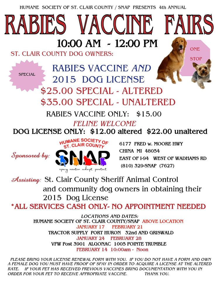 2015 Rabies Event Poster - Humane Society of St Clair County Spay - vaccine order form