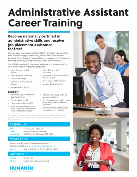 Free Administrative Assistant Career Training \u2013 Humanim - administrative assistant