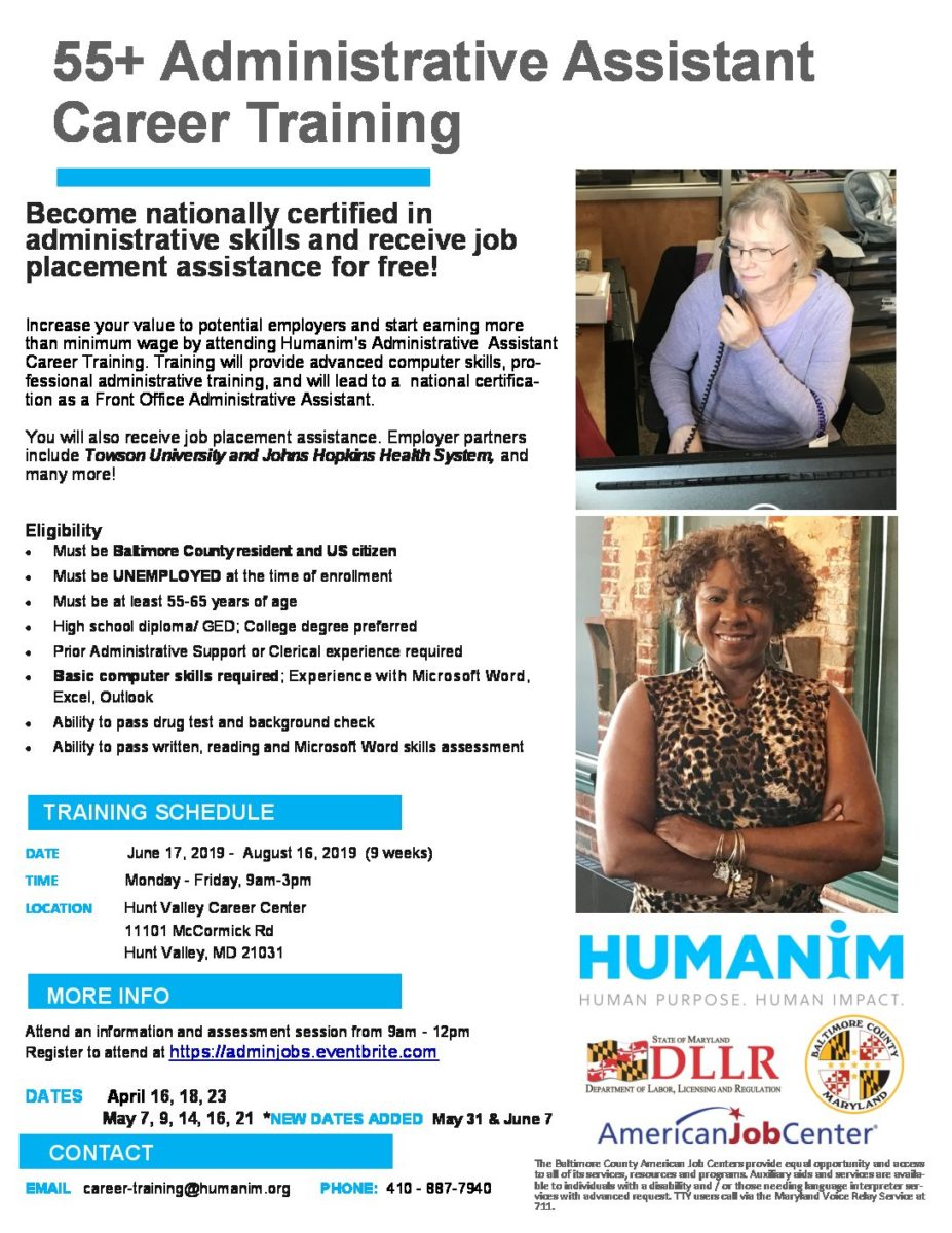 Administrative Assistant Free 55 Administrative Career Training Summer 2019 Humanim