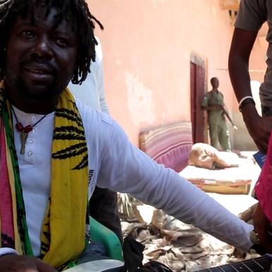 LFM 1.46- Kombo Chokwe prepares for show with former Alshabaab fighters in Mog. Screenshot by Daniel J Gerstle.