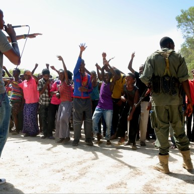 LFM 1.48- Dikriyo Abdi MCs rap show with former fighters. Photo by Daniel J Gerstle.