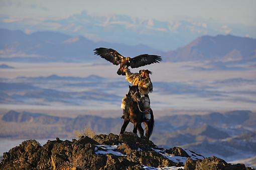 Mongolia: Epic eagle hunter is epic!  Silau flies his bird