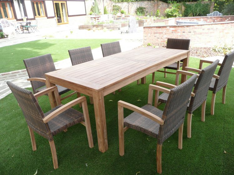 Rattan Outdoor Cannes 8 Seater Teak & Rattan Patio Set | Humber Imports