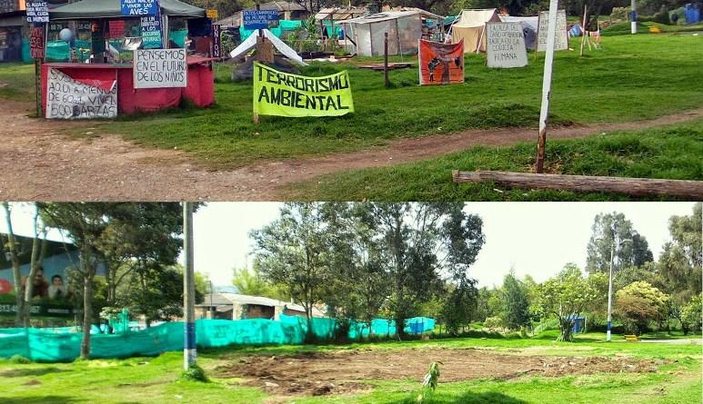 Antes y después del desalojo del campamento Conejera Resiste