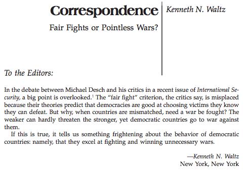 Kenneth Waltz, IR Theorist, RIP Infidelworld - Admiration Letter