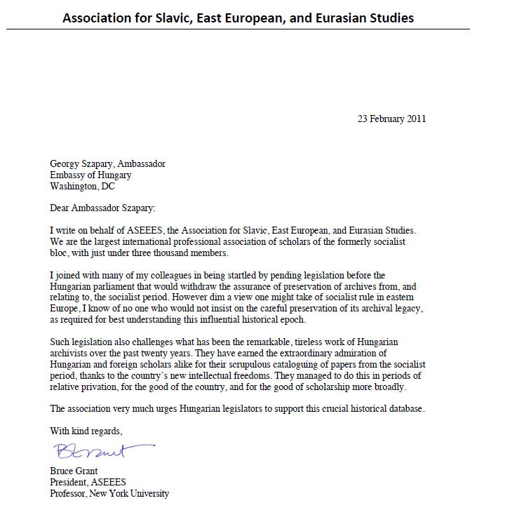 Association for Slavic, East European and Eurasian Studies \u2013 letter