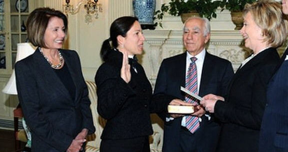 Eleni Kounalakis at her swearing in ceremony as U.S. ambassador to Hungary with Majority Leader Nancy Pelosi and her father Angelo