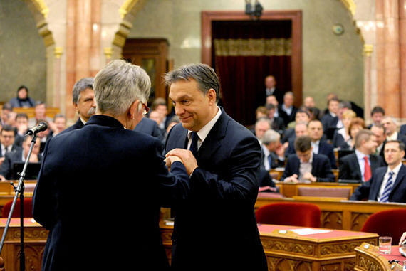 Mrs. László Németh and Viktor Orbán after her swearing in ceremony as minister for national development