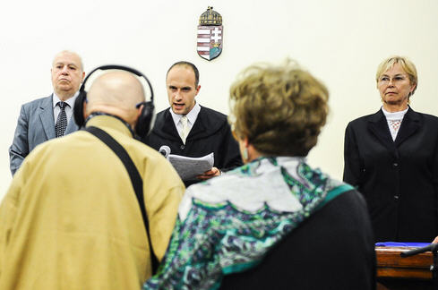 The lower court judge reads the sentence in the Béla Biszku case