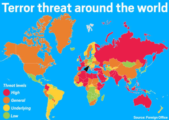 The arrow points to Hungary which is a happy island of low terror threat