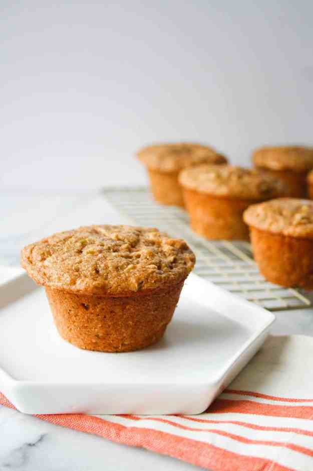 apple cinnamon protein muffins plate close