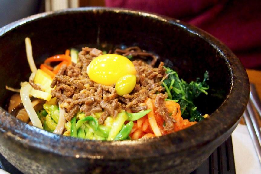 Dolsot bibimbap, in a hot stone bowl.