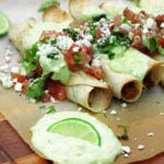 Flautas with Cilantro-Lime Avocado Cream Sauce