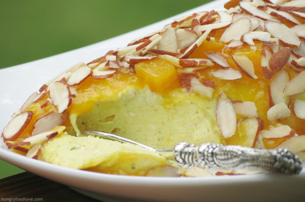Curry Cheese Log with Mango Marmalade and Almonds