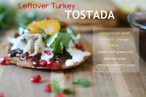 Turkey Tostada with Mexican Cranberry Sauce