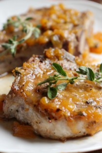 Pork Chops in Moscato Peach-Chipotle Sauce  #MeEncantaMoscato #ad +21