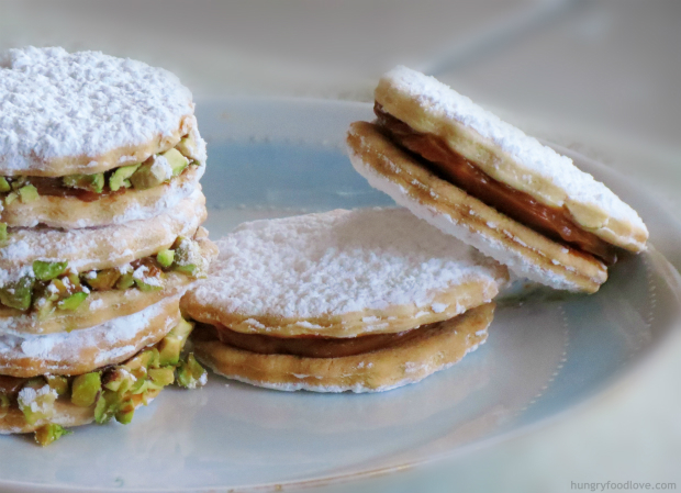 Alfajores Cookies with Pistachio by www.hungryfoodlove.com