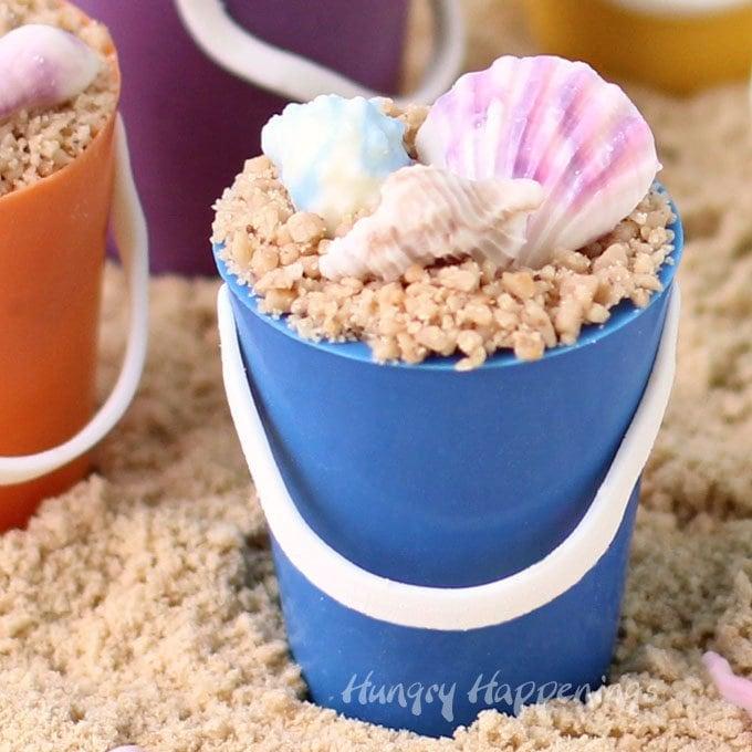 Mini Chocolate Beach Pails with Chocolate Shells