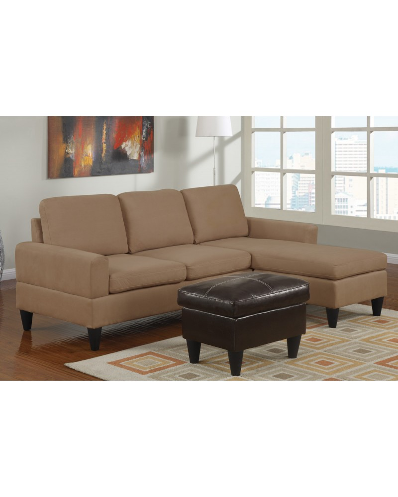 Microfiber Sectional Sofa All In One Microfiber Sectional Sofa With Ottoman Saddle Tan