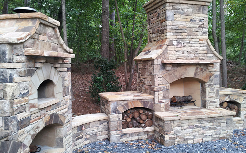 Stone Masonry Outdoor Kitchen Outdoor Fireplace