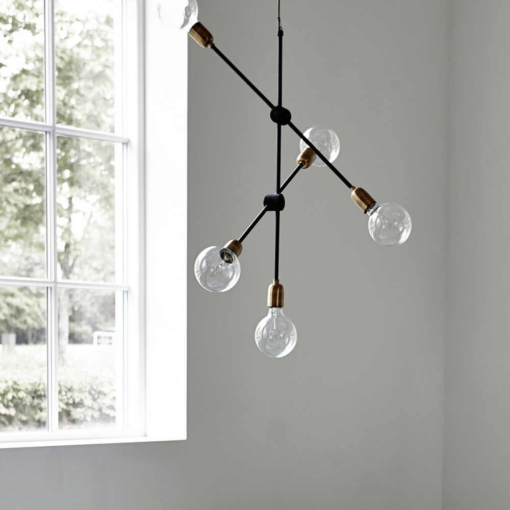 Glass Lamp Ceiling Molecular Black Brass Pendant Lamp Ceiling Light