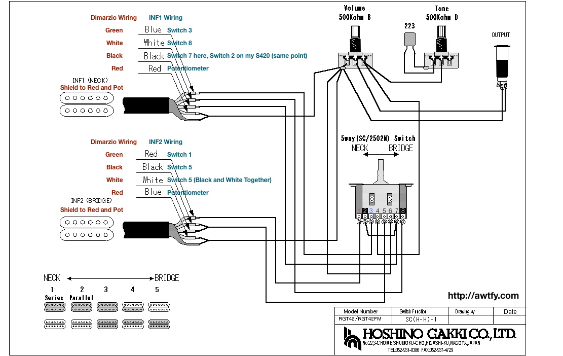 guitar wiring diagram dimarzio