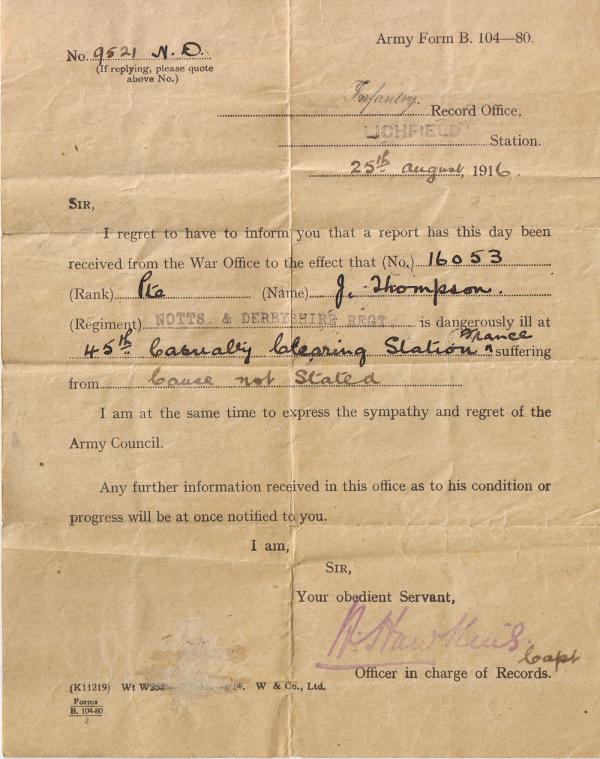 Huthwaite Online - Thompson J - WW1 Memorial - army form