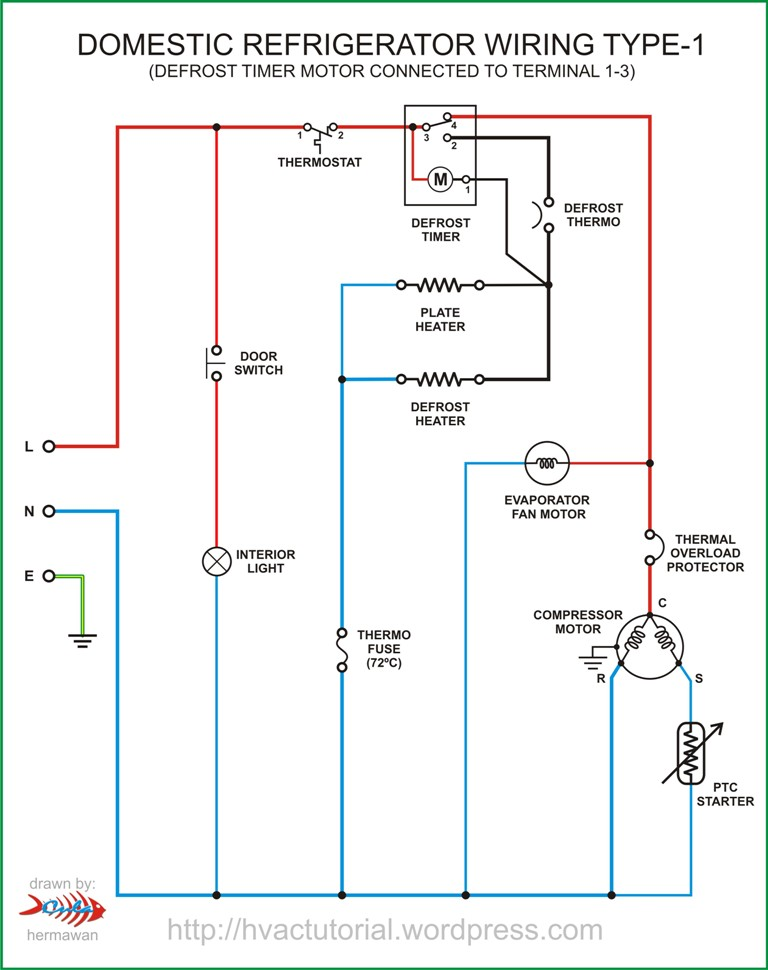 wiring diagram for a refrigerator compressor