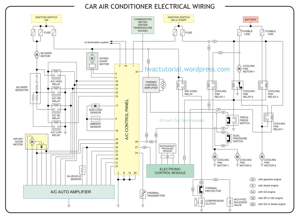 wiring diagram for car air conditioner