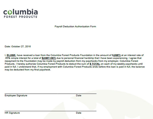 Payroll Deduction Authorization Form - His Way at Work