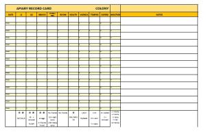 Apiary Record Card from the High Weald Beekeepers' Association