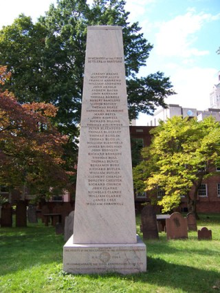 The original brownstone monument erected in 1837 was replaced by this one in 1986. It stands in the Ancient Burying Ground, which is located to the rear of the First Congregational Church at the corner of Main and Gold Streets in Hartford. This cemetery is also known as Old Center Cemetery. It lists the original Founders of Hartford.