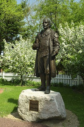 Henry Whitfield Statue in the gardens of his home in Guilford, Connecticut