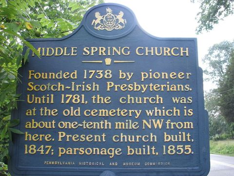 Historical marker at Middle Spring Presbyterian Church (Cumberland County, Pennsylvania)