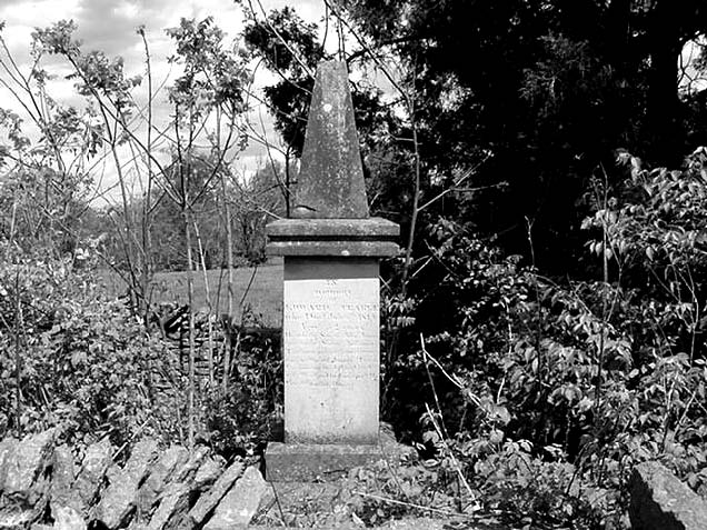 Trabue monument at the private family cemetery in Tyrone, Kentucky (at the home of Edward Trabue, son of Olympia Dupuy)