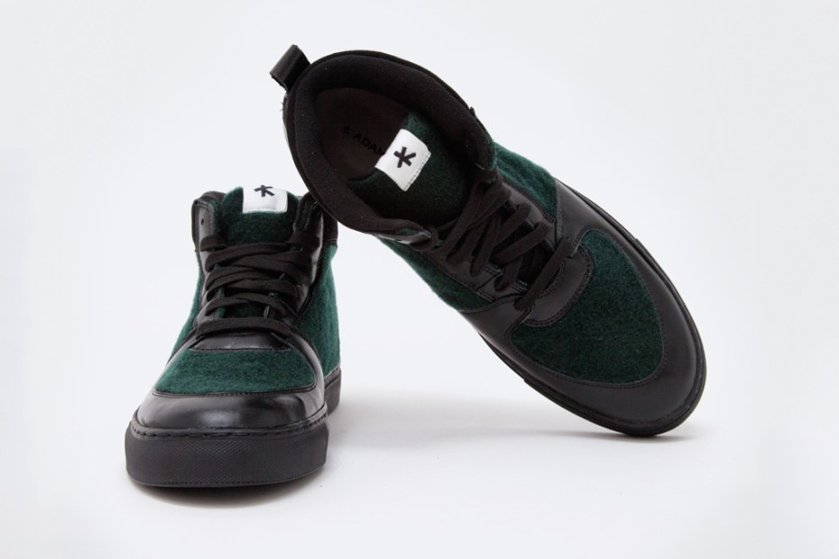 Image of Adam Kimmel Leather Sneaker Black/Dark Green