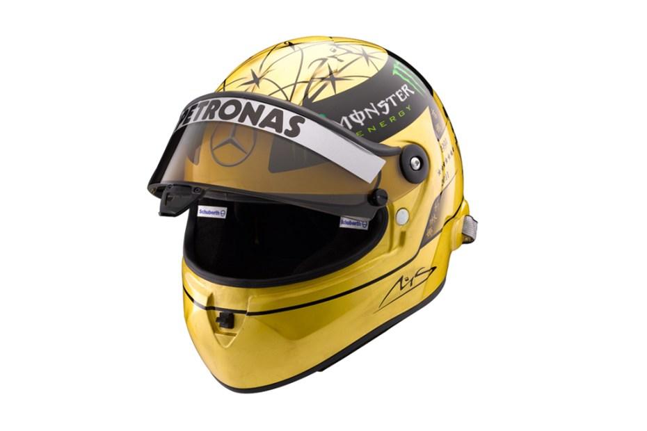 Image of Michael Schumacher x Schuberth 20th Anniversary Gold F1 Helmet