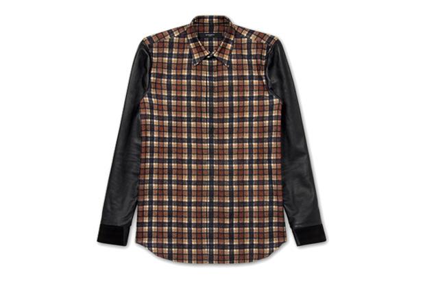 Image of Givenchy Leather Sleeve Shirt
