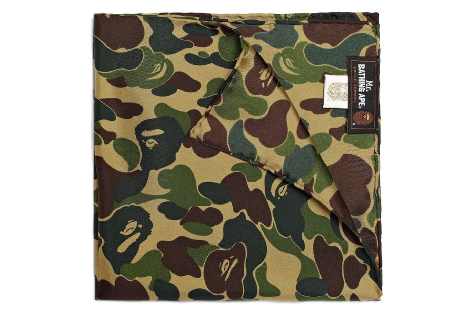 Image of Mr. Bathing Ape Silk Camouflage Pocket Square