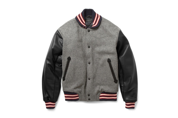 Image of Rag & Bone Grey Wool-Blend Varsity Jacket