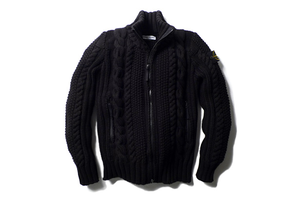 Image of Stone Island Cable Knit Zip Cardigan