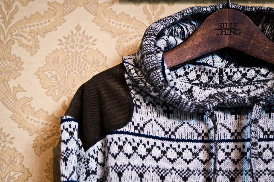 Image of White Mountaineering Jacquard Knit Stratum Pattern Parka