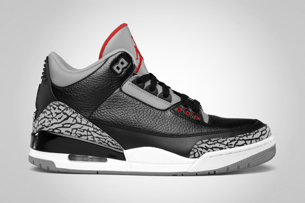 Image of Air Jordan 3 Retro Black/Varsity Red-Cement Grey