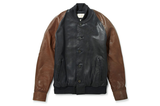 Image of Levi's Made & Crafted Two Tone Leather Varsity Jacket